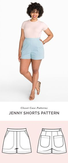 81538414d92c6 Sew a pair of high waisted shorts with the Jenny Shorts pattern by Closet  Case Patterns
