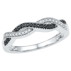1/6 CT. T.W. Round Diamond Prong Set Anniversary Ring in Sterling Silver - Black/White (5), Women's