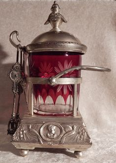 VINTAGE+PICKLE+CASTOR+SILVER+PLATED+RUBY+CUT+TO+CLEAR+GLASS+INSERT+CAESAR+AS-IS+|+eBay