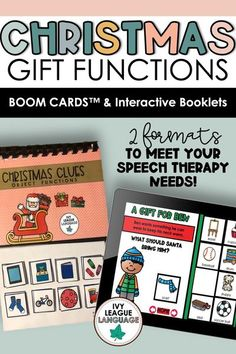 These Boom Cards™ will keep your students totally engaged while learning about object functions this holiday season! 2 sets include 10 boom cards each. 8 cards are dedicated to children and the gifts that they would like. Your students will have to choose the correct gift from a field of 8 choices based on their knowledge of functions! The final 2 cards in each booklet act as a review. Formatted like an interactive booklet, but perfect for distance learning. #speechtherapy