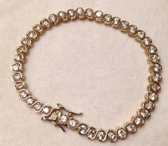 Vintage GS Sterling Silver Round CZ S-Style Tennis Bracelet- Vermeil Gold Washed by 12Treasures12 on Etsy