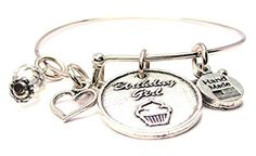 Birthday Girl Childs Charm Bangle Bracelet Fits 55 Inches Kids Bracelets for Girls >>> Visit the image link more details.