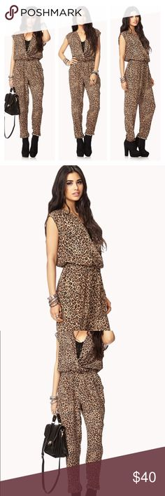 """Jumpsuit Run Wild Animal Print SzL A leopard print jumpsuit featuring a surplice front. Cap sleeves. Elasticized waist. Slanted front pockets. Semi-sheer. Unlined. Woven. Lightweight. 57"""" approx. length from bust to hem, 37.5"""" waist to hem, 29"""" inseam, 15"""" leg opening, 30 - waist, 37"""" chest. Never worn - brand new! It was big for me:( Forever 21 Pants Jumpsuits & Rompers"""