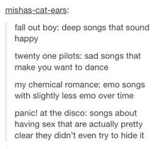 Fall Out Boy Twenty One Pilots My Chemical Romance Panic! At The Disco