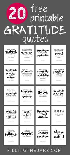 20 Free Printable Short Gratitude Quotes to Inspire Thankfulness | Filling the Jars