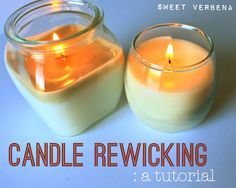 What to do with those jar candles that you've burnt to the bottom but still have loads of wax. Make more candles! Sweet Verbena: Candle Re-wicking: a tutorial Candle Craft, Candle Wax, Candle Wicks, Glass Votive, Soy Candle, Verbena, Glass Holders, Candle Holders, Old Candles