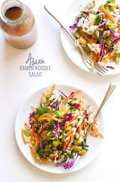Asian Ramen Noodle Salad - loaded with a fresh vegetables and my sweet sesame vinaigrette! #asiansalad #ramennoodlesalad #asianramensalad #ramensalad | littlespicejar.com