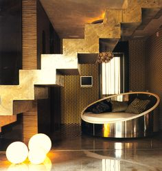 gilded + staircase :: circle + bed :: floor + lights