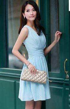 Blue Sleeveless Chiffon Ruffle Dress
