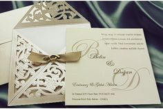 Faire part mariage ivoire et or