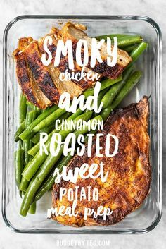 Smoky Chicken and Cinnamon Roasted Sweet Potato Meal Prep is an easy delicious filling and healthy daily lunch or dinner. Smoky Chicken and Cinnamon Roasted Sweet Potato Meal Prep is an easy delicious filling and healthy daily lunch or dinner. Lunch Meal Prep, Healthy Meal Prep, Healthy Snacks, Healthy Recipes, Fast Recipes, Healthy Dishes, Meal Prep For Dinner, Daily Meal Prep, Healthy Filling Meals