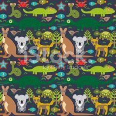 Animals Australia snake, turtle, crocodile, alliagtor, kangaroo, royalty-free vector art illustration