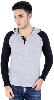 Bigidea Solid Men's Hooded Grey, Black T-Shirt