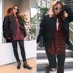 Get this look: http://lb.nu/look/8840859  More looks by Rekay Style: http://lb.nu/rekaystyle  Items in this look:  Acne Studios Bomber Jacket, Ralph Lauren Check Shirt, Mother Black Skinny, Chloe Chain Bag, Isabel Marant Ankle Boots   #casual #punk #street #travelvlog #fwrd #rekaystyle #widepants #widelegpants #chloe