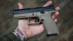 @czusafirearms P10C FDE.  Ambidextrous controls. Slimline controls for sleek body design. Cantilever rear sight and 0.2ish length longer than 19 slide puts sight radius nearly an inch longer. Flat trigger short reset comparable to 3.5 ghost  after market Glock trigger. P10C mags work in P07 pistols which could mean P07 mag extensions are compatible. 3 interchangeable back straps. Factory metal night sights. Deep factory slide serrations. Same impenetrable slide finish as P07. What appears…