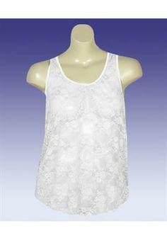 Plus Size White Lace Tank image