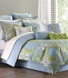 for a guest bedroom - blue and green bedding
