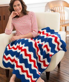 America's Ripple Throw Free Crochet Pattern from Red Heart Yarns