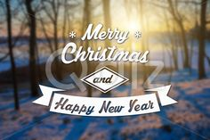 Qdiz Stock Images Merry Christmas and New Year greeting card,  #background #blur #blurred #card #celebration #Christmas #eve #forest #greeting #happy #holiday #light #Merry #new #postcard #retro #season #snow #Sun #sundown #Sunset #traditional #tree #vintage #winter #xmas #year