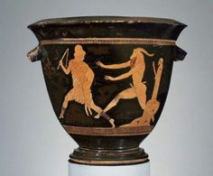 Pan Painter, Artemis and Aktaion Krater, ca. 470-460 BC, Boston Museum of Fine Arts    The herm-inspired Pan (god of the Wild), amorously chases a shepherd unfortunately cloaked in a fawn skin and straw hat. Depictions of Pan became particularly popular after the Greek victory over Persia in Marathon; Greeks sometimes paid thanks to Pan for causing a panic among the Persians, leading to a Greek victory.