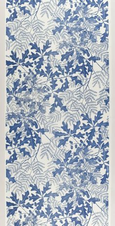 """Oakleaf"" lino block printed wallpaper by Marthe Armitage, 2004 Pop Design, Deco Design, Design Art, Blue Design, Print Design, Textile Patterns, Print Patterns, Textiles, Oak Leaves"