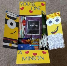 Despicable Me Care Package Flaps by Kaykes on Etsy Missionary Packages, Deployment Care Packages, Craft Gifts, Diy Gifts, I Care Packages, Minions, Pixar, Box Of Sunshine, Care Box