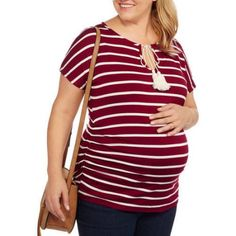 Due Time Maternity Plus-Size Short Sleeve Striped Tie-Front Shirt, Size: 3XL, Beige
