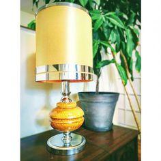 Lampe+céramique+jaune+année+70's+vintage