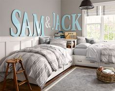 Love the letters on the wall of their names Shared Bedroom Idea | Pottery Barn Kids