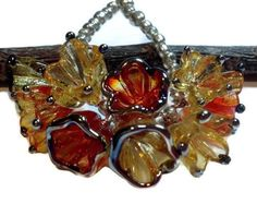 Molten Wrx, Beads of Glass - 9 Lampwork Glass Transparent Orange and Amber Flower Bead Charms Glass Flowers, Beaded Flowers, Material Flowers, Handmade Beads, Handmade Gifts, Wrx, Jewelry Making Supplies, Lampwork Beads, Glass Beads