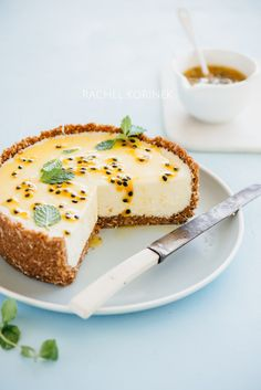 Food Photography Behind The Lens: White Chocolate + Passionfruit Cheesecake. Mini Desserts, Just Desserts, Plated Desserts, Summer Desserts, Cheesecake Recipes, Dessert Recipes, Summer Cheesecake, Cheesecake Cupcakes, Desert Recipes