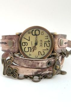 Rusty Looking Wrap Watch, Womens leather watch, Unique Jewelry, Bracelet Watch with Chain