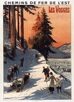 chemins de fer de l'est - Les Vosges - 1912 - illustration de Louis Tauzin - France -