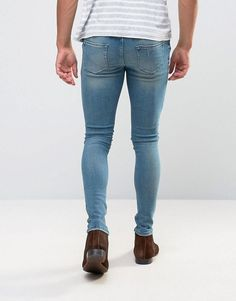 Find the best selection of ASOS Extreme Super Skinny Jeans With Abrasions In Mid Blue. Shop today with free delivery and returns (Ts&Cs apply) with ASOS! Sexy Jeans, Jeans Fit, Men In Tight Pants, Men Pants, Casual Wedding Suit, Spray On Jeans, Boys Jeans, Super Skinny Jeans, Fashion Online