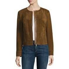 Liz Claiborne Suede Leather Jacket ($70) ❤ liked on Polyvore featuring outerwear, jackets, zipper jacket, brown jacket, suede jacket, suede leather jacket and brown suede jackets