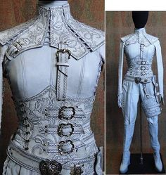 White leather  corset/leg brace outfit with ornate details - white Mord Sith outfit