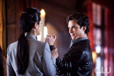 """""""There Goes the Neighborhood"""" - Kelly Hu as Pearl, Ian Somerhalder as Damon in THE VAMPIRE DIARIES on The CW. Photo: Bob Mahoney/The CW ©2010 The CW Network, LLC. All Rights Reserved. (816)"""