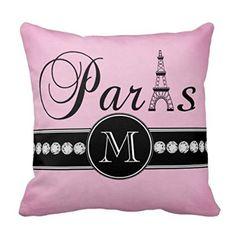 Decors Girly Pink Black Paris Monogrammed Throw Pillow Case Cushion Cover Home Sofa Decorative 16 X 16 Pillow