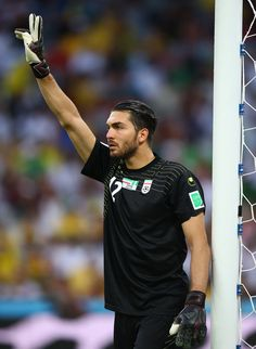 Alireza Haghighi Photos - Alireza Haghighi of Iran gestures during the 2014 FIFA World Cup Brazil Group F match between Iran and Nigeria at Arena da Baixada on June 2014 in Curitiba, Brazil. - Iran v Nigeria: Group F Football Icon, World Football, Football Players, World Cup 2014, Fifa World Cup, Persian Pattern, Man Of The Match, Persian Culture, Water Polo