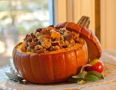 pumpkin stuffed stuffing....can't wait to try this! #Thanksgiving #recipe #pumpkin #stuffing #creative #dinner