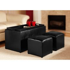 "Design4Comfort"" Faux Leather Storage Bench With 2 Side Ottomans, Black $88.50 on sale ($94)"