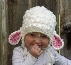 Little Girls Crochet Lamb Hat by Eimajinations on Etsy, $23.00