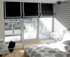 Classic Roman Shades for a modern bedroom. use binding (frame) with an accent color for a great looking shade. Interior Windows, Custom Window Treatments, Shades Blinds, Custom Windows, Floor To Ceiling Windows, Roman Shades, Accent Colors, Modern Bedroom, Curtains