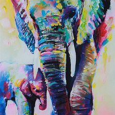 Unframed Cartoon Animal Elephant Son Oil Painting Abstract Painting Canvas Wall Art Home Decoration 50*50cm 1pcs