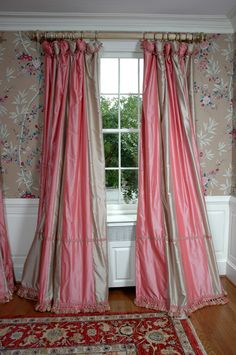 These pink and white stripe drapes are made from 2 fabrics. great idea!
