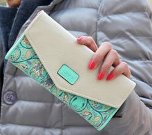Moda flor mulheres carteira 5 cores flor longa carteiras New Popular bolsa da mudança portátil carteira delicada Casual senhora caixa bolsa(China (Mainland))