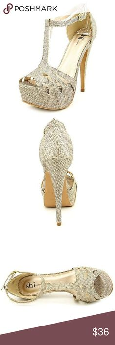 "Champagne gold from SHI shoes CONDITION:New with box  BRAND/STYLE:SHI Fancy  COLOR:Champagne  MATERIAL:Synthetic  MEASUREMENTS:6"" heel  WIDTH:Medium (B, M) shi Shoes Platforms"