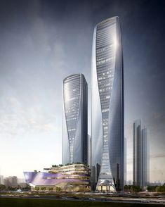 Shimao Towers, Nanjing door Wood Bagot Source by Building Sketch, Tower Building, Building Facade, Building Ideas, Futuristic Architecture, Amazing Architecture, Architecture Design, Amazing Buildings, Modern Buildings