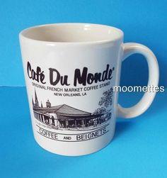 Cafe Du Monde Coffee Mug New Orleans LA Original French Market Beignets 10 oz #MWare #FoodAdvertising
