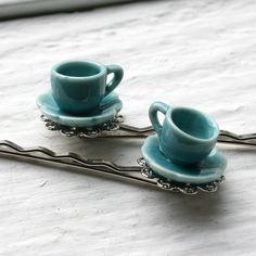 my 2 favorite things! tea sets and hair pins!!!!!!!